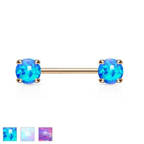 Barbell / Bröstsmycke roséguldpläterad 1.6mm 12mm med 5mm prong-set opal