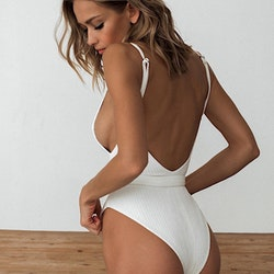 Claire buckle  swimsuit white