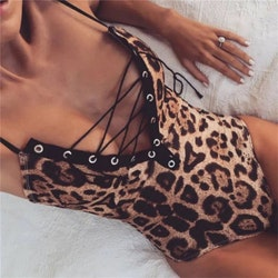 Lace up leo swimsuit