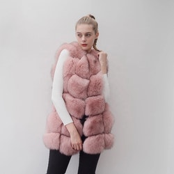 Danielle vest real fur pink