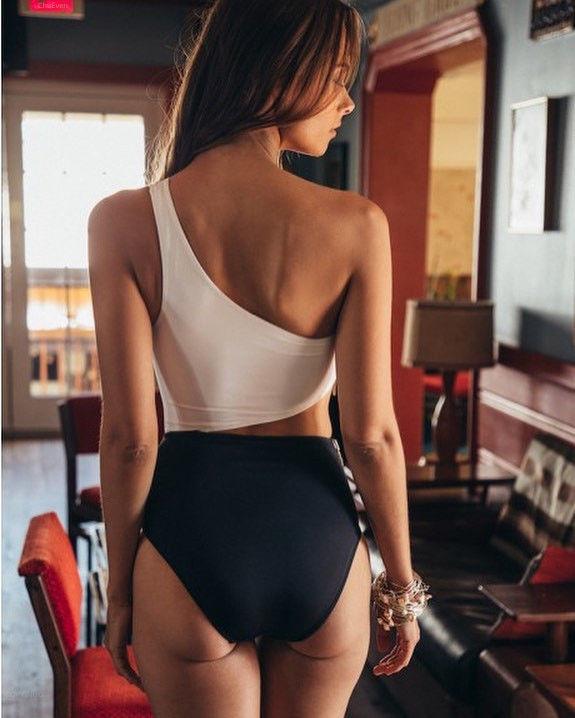 Zipper swimsuit black/white