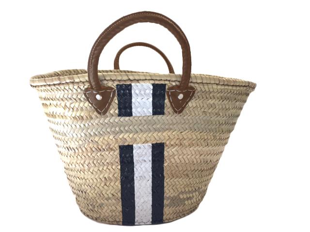 Personlig strandväska med läderhandtag