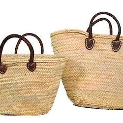 Strå väska med läderhandtag utan målning