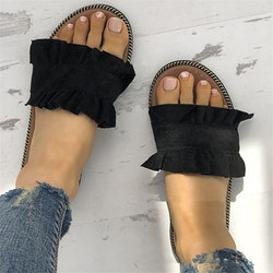 Frill slippers black