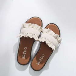 Frill slippers off white