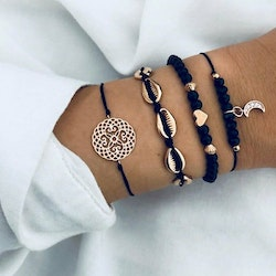 4 pcs black rope bracelet
