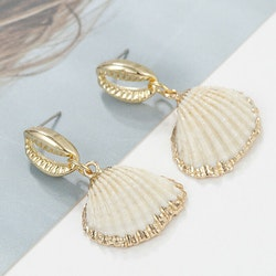 Sheashell drop earrings gold/white