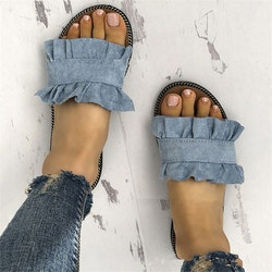 Frill slippers blue