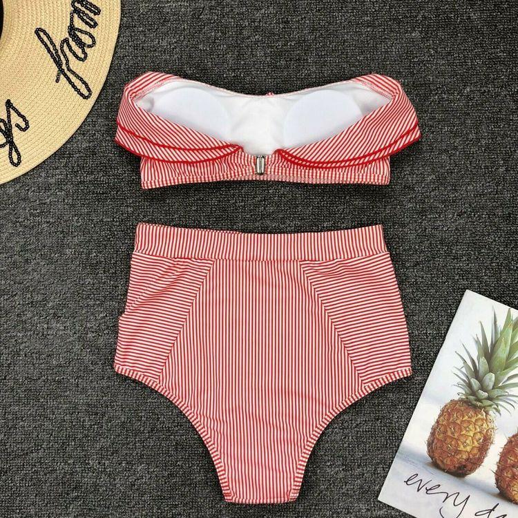 Santorini ruffle bikini red