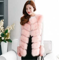 Kylie Faux fur vest light pink