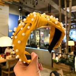 Headband velvet pearl yellow