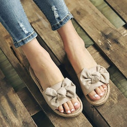 Bowknot slippers camel