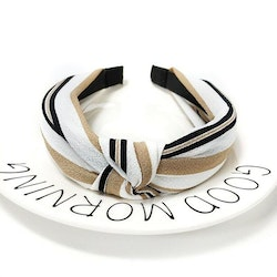 Headband striped white/black/beige