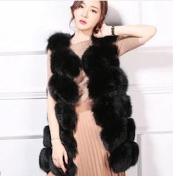 Danielle vest real fur black