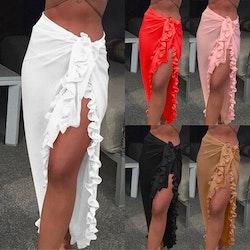 Beach ruffle skirt white