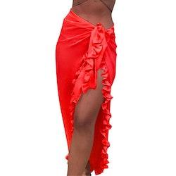 Beach ruffle skirt red
