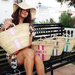 Personlig strandväska med strå handtag