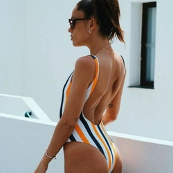 Stripe with zipper swimsuit