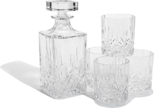 Glaskaraff med 4 dricksglas