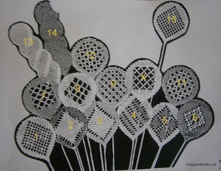 Hildurs ballonger nr 1, 2, 3, 4, 5 och 15.   5,5x5,5 cm,  24 par pinnar