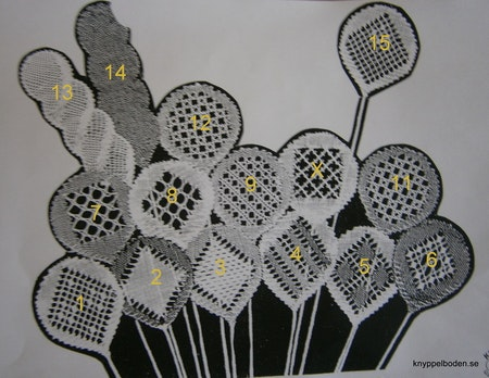 Hildurs ballonger långa nr 13 och 14  3,2x10,5 cm, 7 par pinnar