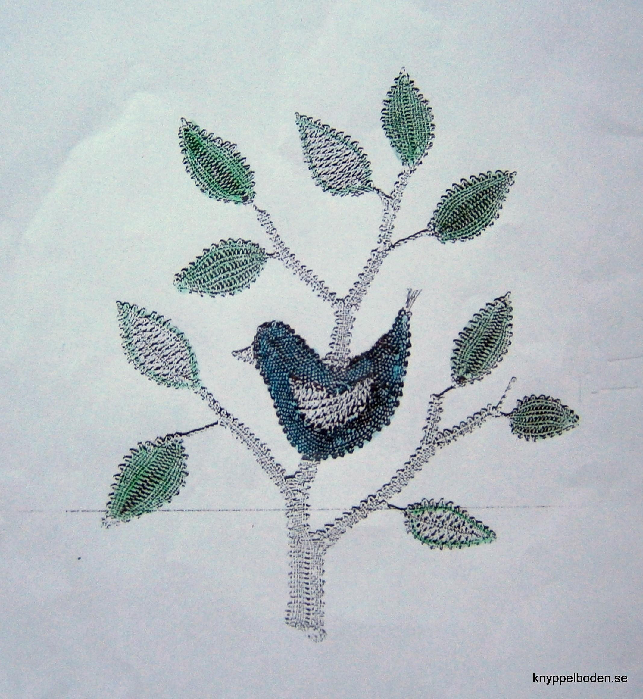 Fågel Blå 12,5x15 cm