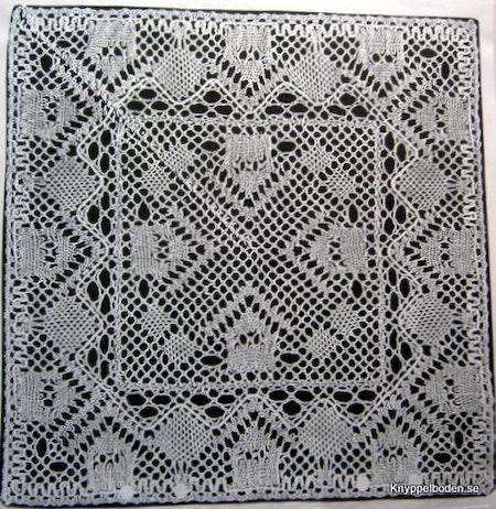 Radhus 19,5x19,5 cm med mittdel knypplad separat.