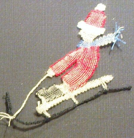 Tomte med kälke 1998 8x7,5 cm