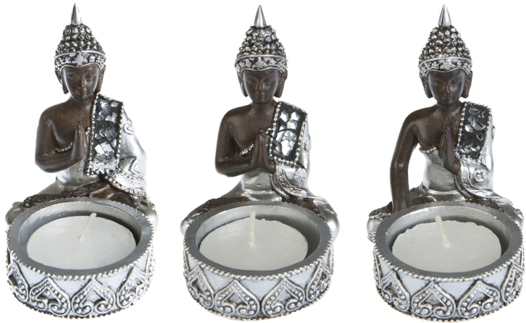 Thai Buddha 3-pack Värmeljushållare
