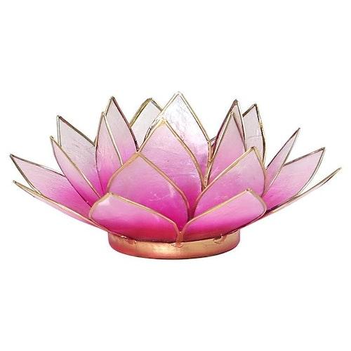 Lotusblomma ljus pink med guldkant, Ljushållare