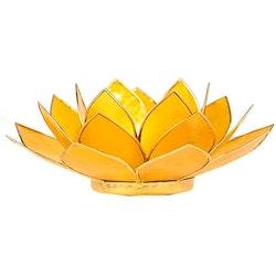 Lotusblomma Gul, Chakra 3 med guldkant, Ljushållare