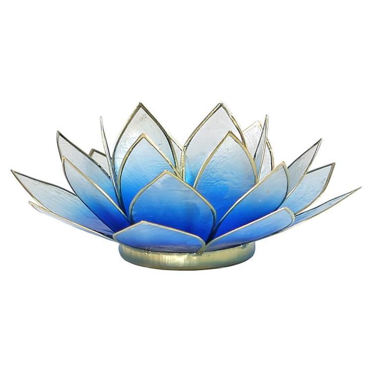 Lotusblomma ljusblå/vit med guldkant, Ljushållare
