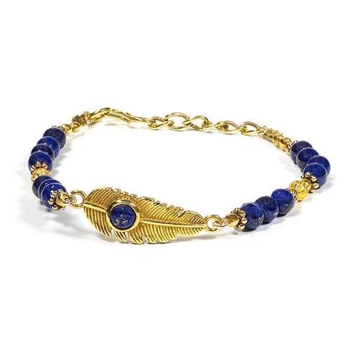 Armband med fjäder och Lapis Lazuli