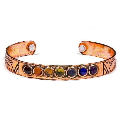 Armband i magnetisk koppar, Chakrastenar