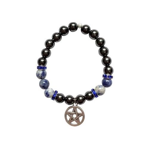 Armband i Hematit och Sodalit med Pentagram
