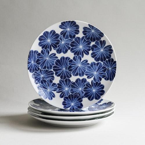 4-p Daggkåpa assiett blå Ø 21 cm