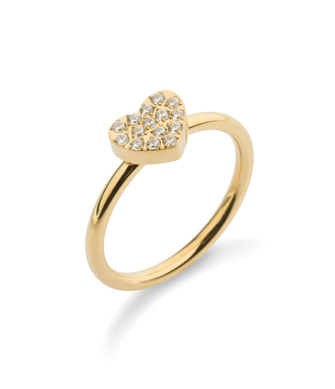 Crystal heart ring  Guld
