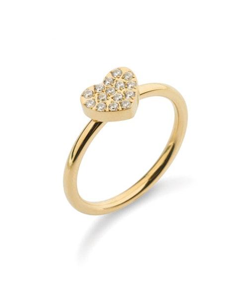 Crystal heart ring  Guld