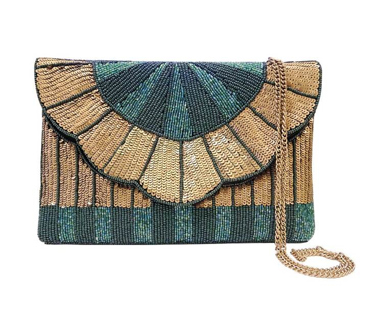 Queenly Beaded Clutch Green