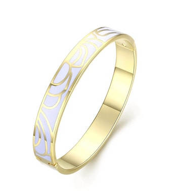 Flower Enamel Bangle Vit/Guld