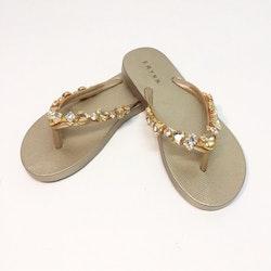Flip Flop med strass Guld