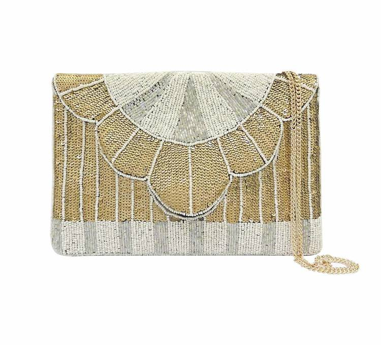 Queenly Beaded Clutch Cream