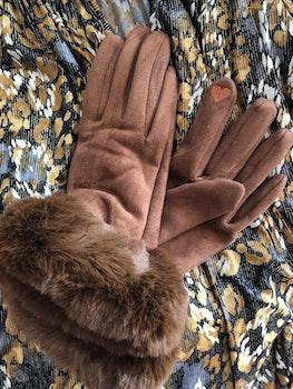 Handskar med fuskpäls Karamel