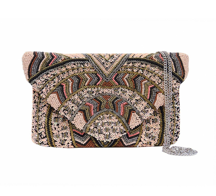 Arya Beaded clutch Pink