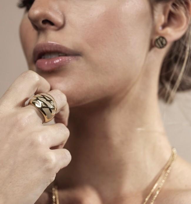 Rose Enamel Ring Sand/Guld
