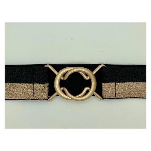 Resår-bälte Svart/Guld