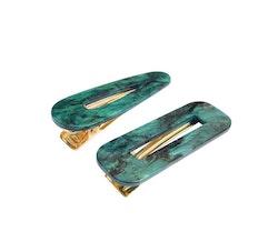 Marble Hårspänne  2-pack Grön