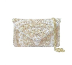 Sintra Beaded Clutch Creme