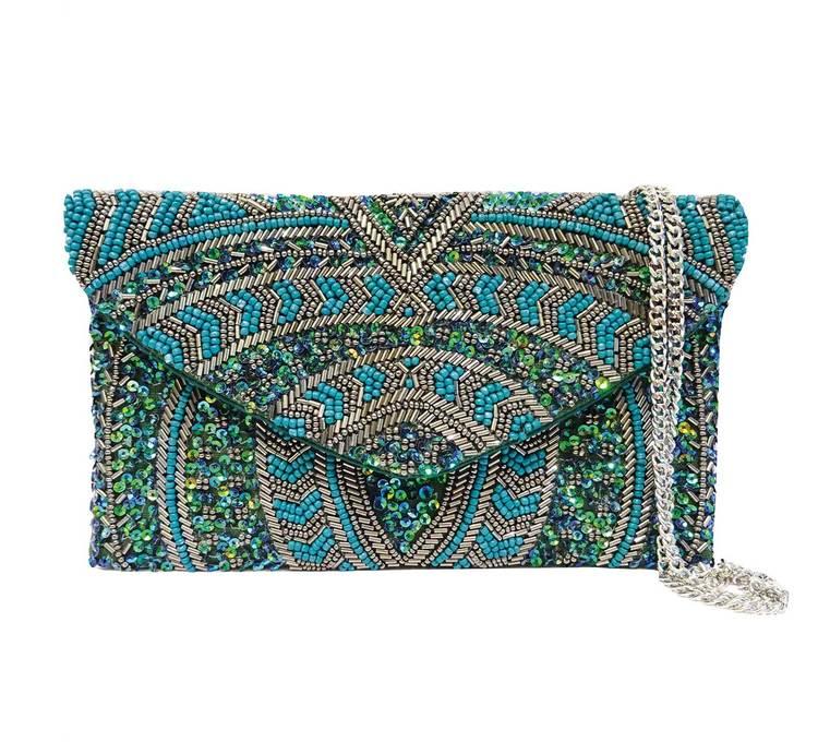 Sintra Beaded Clutch Emerald