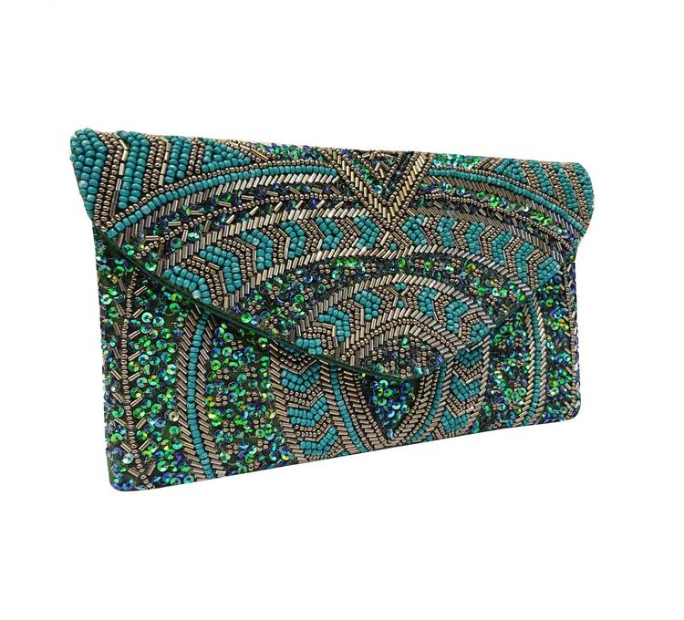 Sintra Beaded Clutch Emerald